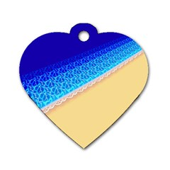 Beach Sea Water Waves Sand Dog Tag Heart (two Sides)