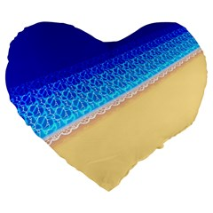 Beach Sea Water Waves Sand Large 19  Premium Heart Shape Cushions by Alisyart