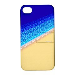 Beach Sea Water Waves Sand Apple Iphone 4/4s Hardshell Case With Stand by Alisyart