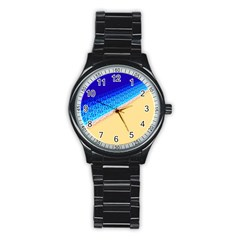 Beach Sea Water Waves Sand Stainless Steel Round Watch by Alisyart