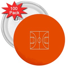 Basketball Court Orange Sport Orange Line 3  Buttons (100 Pack)  by Alisyart