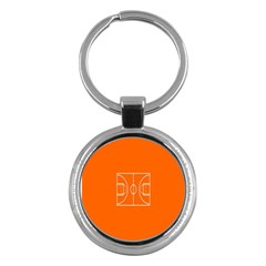 Basketball Court Orange Sport Orange Line Key Chains (round)  by Alisyart
