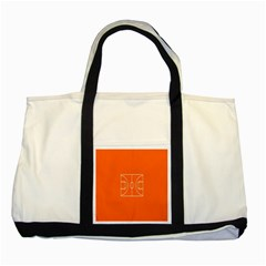 Basketball Court Orange Sport Orange Line Two Tone Tote Bag by Alisyart