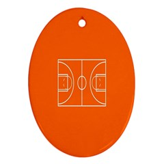 Basketball Court Orange Sport Orange Line Oval Ornament (two Sides) by Alisyart