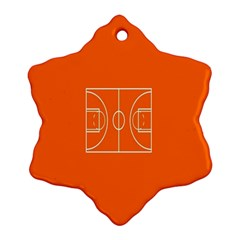 Basketball Court Orange Sport Orange Line Snowflake Ornament (two Sides) by Alisyart