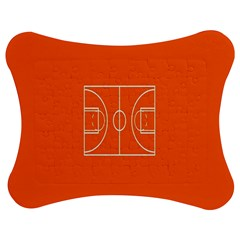 Basketball Court Orange Sport Orange Line Jigsaw Puzzle Photo Stand (bow) by Alisyart