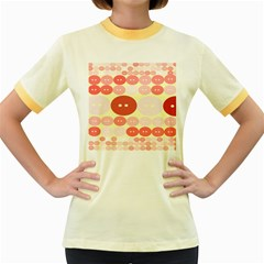 Buttons Pink Red Circle Scrapboo Women s Fitted Ringer T Shirts