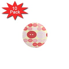 Buttons Pink Red Circle Scrapboo 1  Mini Magnet (10 Pack)  by Alisyart