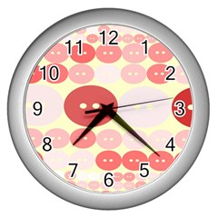 Buttons Pink Red Circle Scrapboo Wall Clocks (silver)