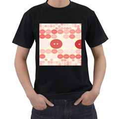 Buttons Pink Red Circle Scrapboo Men s T-shirt (black) (two Sided) by Alisyart