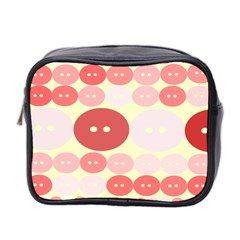 Buttons Pink Red Circle Scrapboo Mini Toiletries Bag 2 Side