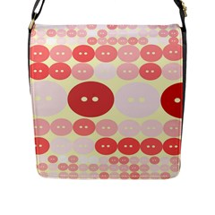 Buttons Pink Red Circle Scrapboo Flap Messenger Bag (l)  by Alisyart
