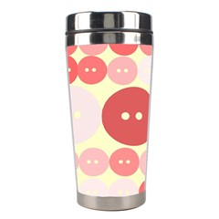 Buttons Pink Red Circle Scrapboo Stainless Steel Travel Tumblers by Alisyart