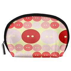 Buttons Pink Red Circle Scrapboo Accessory Pouches (large)