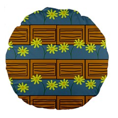 Yellow Flower Floral Sunflower Large 18  Premium Round Cushions