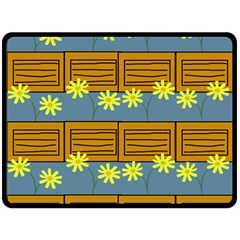 Yellow Flower Floral Sunflower Double Sided Fleece Blanket (large)