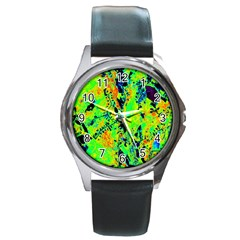 Bow Canopy Height Satelite Map Round Metal Watch by Alisyart