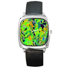 Bow Canopy Height Satelite Map Square Metal Watch by Alisyart