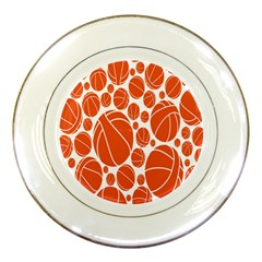 Basketball Ball Orange Sport Porcelain Plates by Alisyart