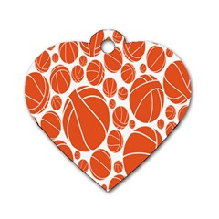 Basketball Ball Orange Sport Dog Tag Heart (two Sides) by Alisyart