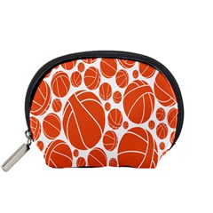 Basketball Ball Orange Sport Accessory Pouches (small)  by Alisyart