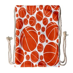 Basketball Ball Orange Sport Drawstring Bag (large) by Alisyart