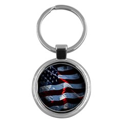 Grunge American Flag Background Key Chains (round)  by Simbadda