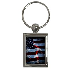 Grunge American Flag Background Key Chains (rectangle)  by Simbadda