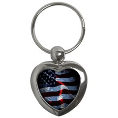 Grunge American Flag Background Key Chains (heart)  by Simbadda