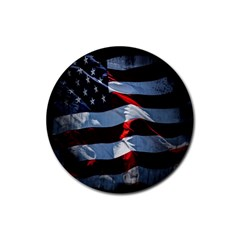 Grunge American Flag Background Rubber Round Coaster (4 Pack)  by Simbadda