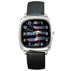 Grunge American Flag Background Square Metal Watch by Simbadda