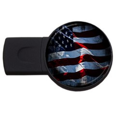 Grunge American Flag Background Usb Flash Drive Round (4 Gb) by Simbadda