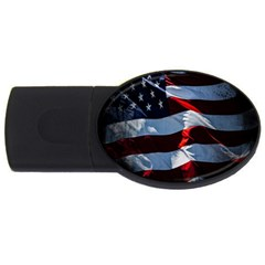 Grunge American Flag Background Usb Flash Drive Oval (4 Gb) by Simbadda
