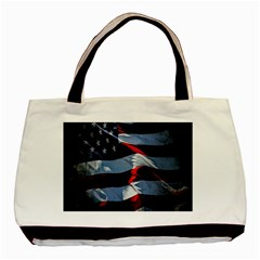 Grunge American Flag Background Basic Tote Bag by Simbadda