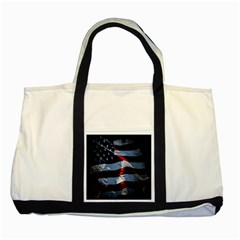 Grunge American Flag Background Two Tone Tote Bag by Simbadda
