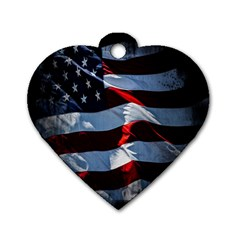 Grunge American Flag Background Dog Tag Heart (two Sides)