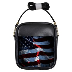 Grunge American Flag Background Girls Sling Bags by Simbadda