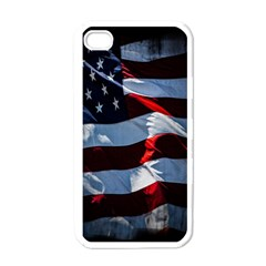 Grunge American Flag Background Apple Iphone 4 Case (white) by Simbadda