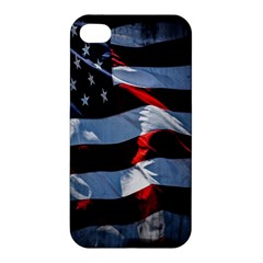 Grunge American Flag Background Apple Iphone 4/4s Premium Hardshell Case by Simbadda