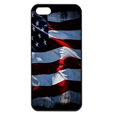 Grunge American Flag Background Apple Iphone 5 Seamless Case (black) by Simbadda