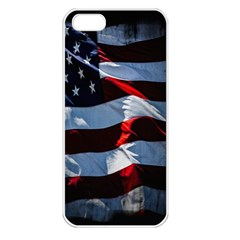 Grunge American Flag Background Apple Iphone 5 Seamless Case (white) by Simbadda