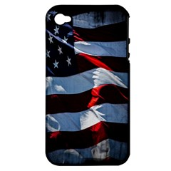 Grunge American Flag Background Apple Iphone 4/4s Hardshell Case (pc+silicone) by Simbadda
