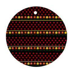 Ladybugs And Flowers Ornament (round) by Valentinaart