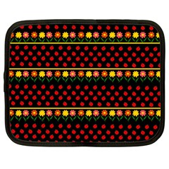 Ladybugs And Flowers Netbook Case (large) by Valentinaart