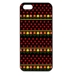 Ladybugs And Flowers Apple Iphone 5 Seamless Case (black)