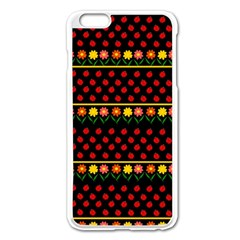 Ladybugs And Flowers Apple Iphone 6 Plus/6s Plus Enamel White Case by Valentinaart
