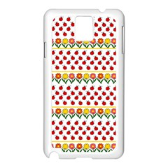Ladybugs And Flowers Samsung Galaxy Note 3 N9005 Case (white) by Valentinaart