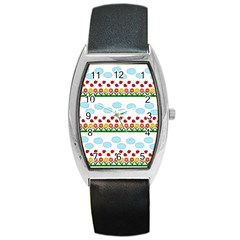 Ladybugs And Flowers Barrel Style Metal Watch