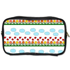 Ladybugs And Flowers Toiletries Bags 2 Side by Valentinaart