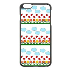 Ladybugs And Flowers Apple Iphone 6 Plus/6s Plus Black Enamel Case by Valentinaart